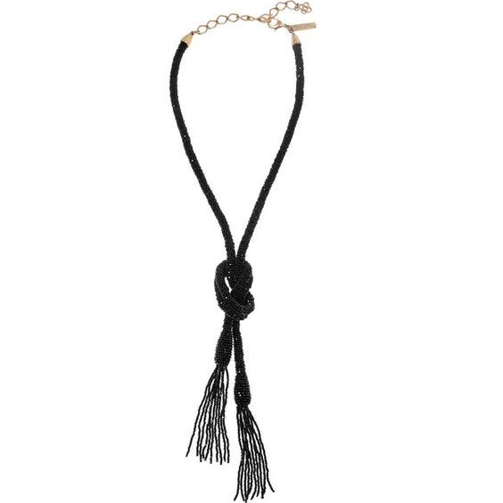 Oscar de la Renta Beaded tassel necklace (615 CAD) ❤ liked on Polyvore featuring jewelry, necklaces, black, oscar de la renta necklace, oscar de la renta, black necklace, bead necklace and tassel jewelry