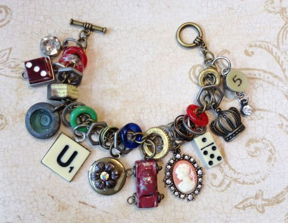 Industrial Chic Charms Mixed Media Altered Art by MyTrendyTrinkets