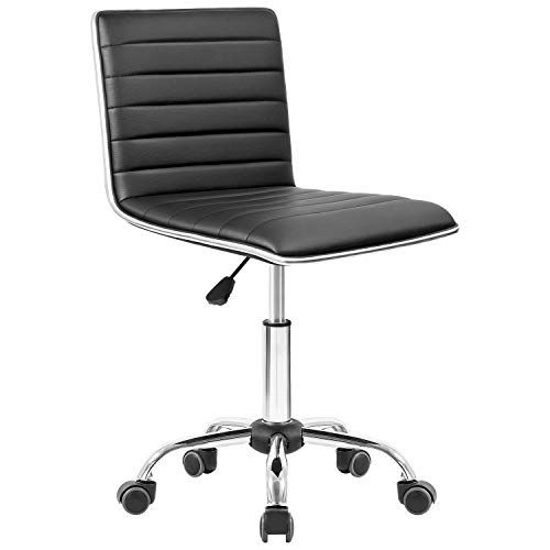 Essentials Leather Mid-Back Office Chair Armless Leather Computer Chair Black