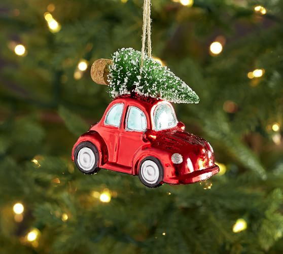 Mercury Beetle Car With Tree Ornament Christmas Tree Ornaments Christmas Ornaments Pottery Christmas Tree Themes