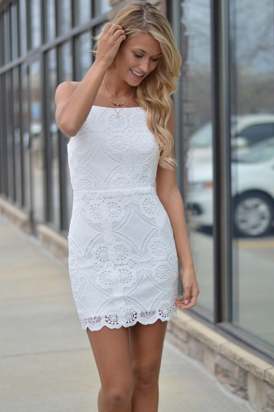 white lace bridal shower dress