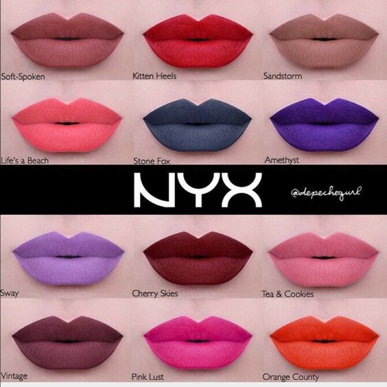 NYX Liquid Suede Bundle (6) NYX Liquid Suede Cream Lipstick Bundle includes: Life's A Beach, Kitten Heels (unopened), Orange County, Cherry Skies, Vintage, Stone Fox. All have been swatched with separate lip brush; except for kitten heels, it's never been opened NYX Makeup Lip Balm & Gloss