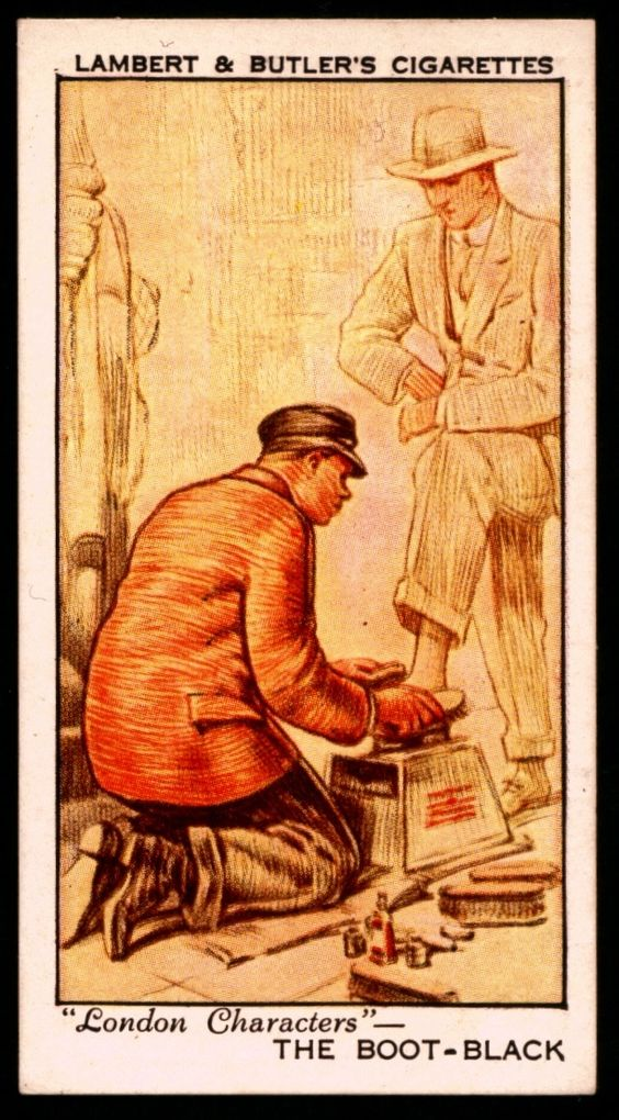 Lambert and Butler cigarette card - London Characters, The Boot Black. From 1934