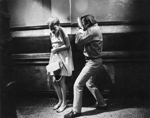 Roman Polanski and Mia Farrow on the set of Rosemary's Baby, 1968