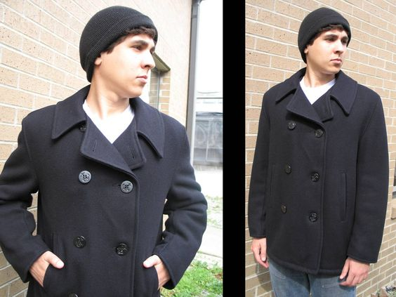 AHOY SAILOR: Vintage Wool Peacoat // Jacket Black Double