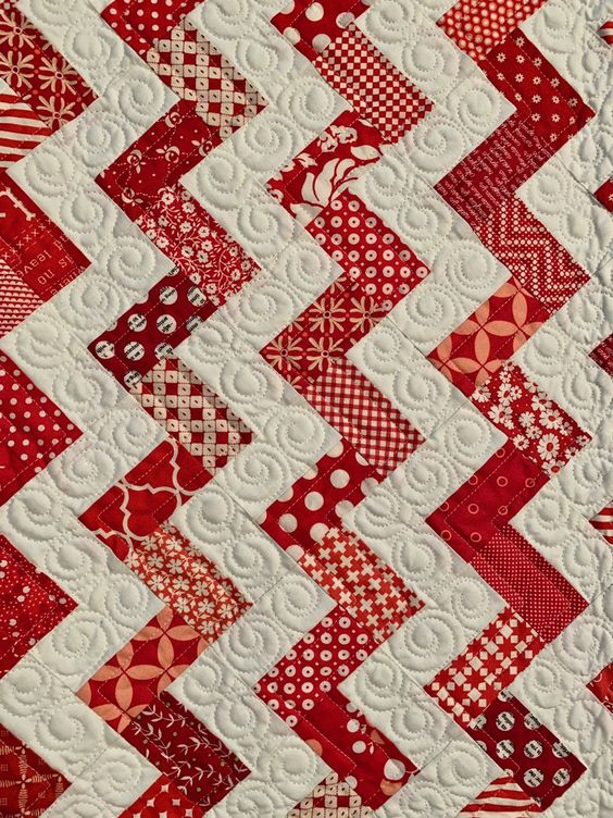 """Red & White Quilt """"Walk This Way"""" by Carrie Nelson, Quilted by Carrie Straka - TheQuiltShow.com"""