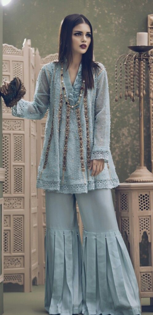 Stitching Styles Of Pakistani Dresses Blue Ghrara Pants