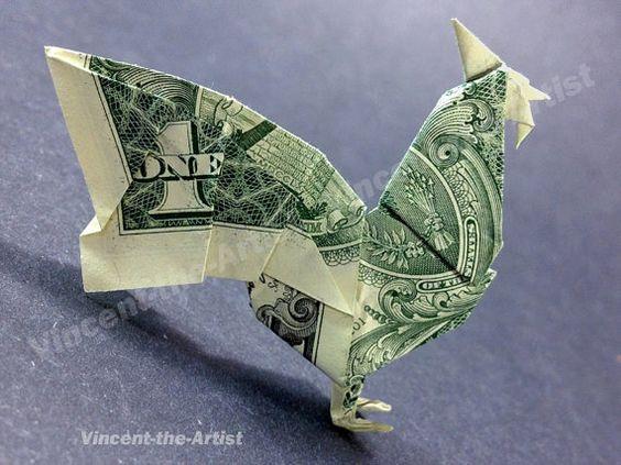 dollar bill origami rooster dollar bill art pinterest