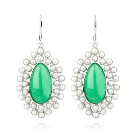 Gems Of The Orient Jade & FWP Drop Earring SS