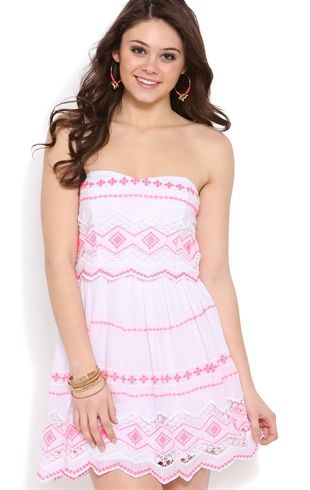 Deb Shops strapless sweetheart bodice with contrast neon embroidery $31.50