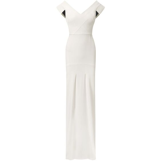 Roland Mouret Salters Gown ($3,985) ❤ liked on Polyvore featuring dresses, gowns, gown, white, white summer dresses, viscose dress, white evening dresses, white ball gowns and red carpet gowns