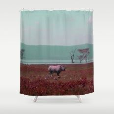 Black Rhino in Pink Shower Curtain
