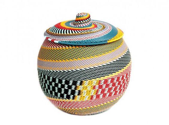 panier tress base de fils de t l phone ethnique decoration afrique wax then pinterest. Black Bedroom Furniture Sets. Home Design Ideas