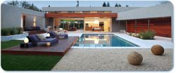 wood deck platform for an elevated pool seating area
