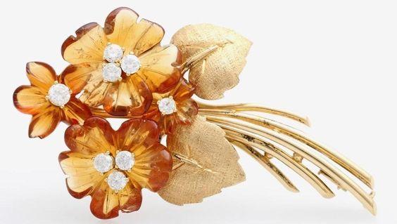 An Arts & Crafts Period Gold, Citrine & Diamond Flower Spray Brooch