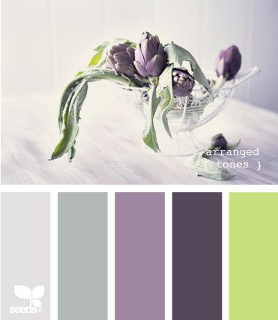 lime green/purples/grays