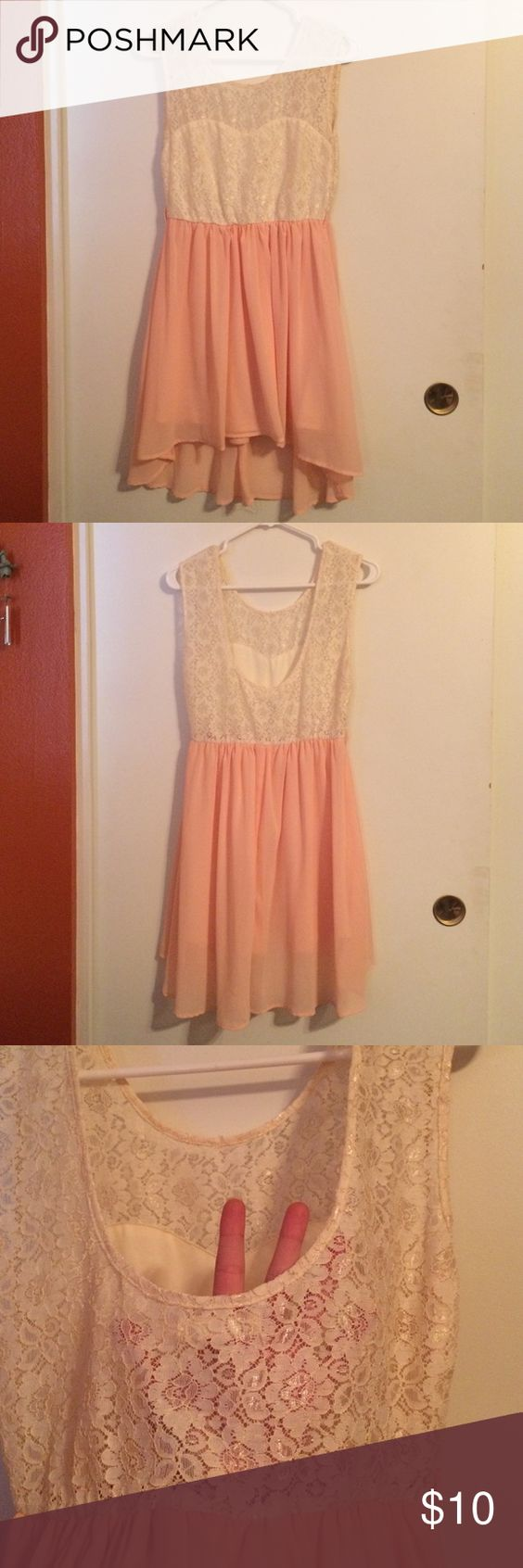 Pink see through lace dress  Cream Lace Top  Pink Flowy Bottom Dress