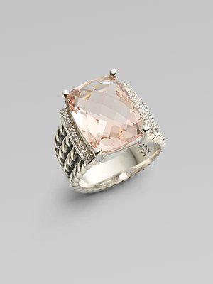 David Yurman - Morganite, Diamond & Sterling Silver Ring