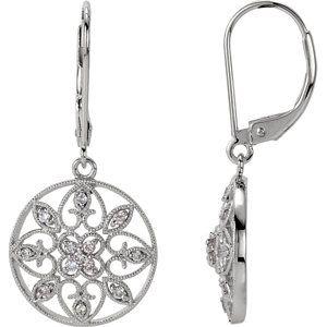 14K White 1/4 ct tw Diamond Filigree Lever Back Earrings | Stuller.com. Available at Murphey the Jeweler.