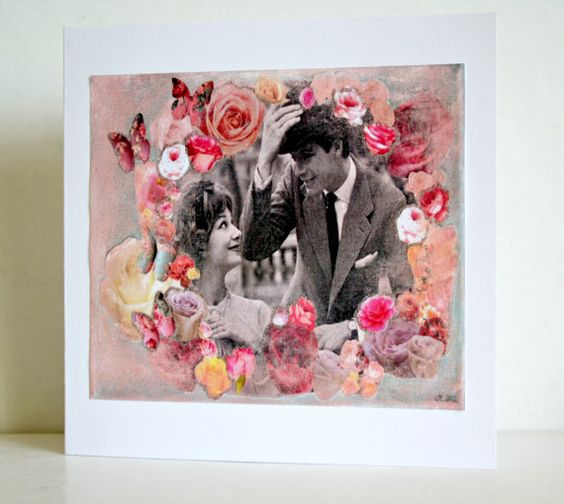 Romantic card with quirky 1950s couple engagement by ThisRosyLife