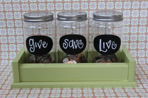 country style money saving jars to teach kids about money and life.: Piggy Bank, Savings Jar, Kids Saving, Kids Money Jar, Live Jars, Money Jars