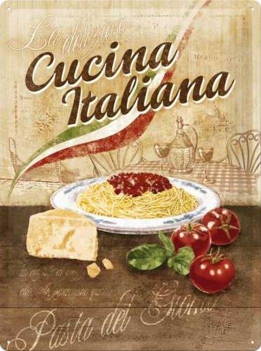 Plaque Métal Vintage Cucina Italiana Plaques Vintages