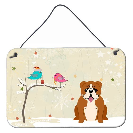 Christmas Presents between Friends English Bulldog Red White Wall or Door Hanging Prints BB2592DS812