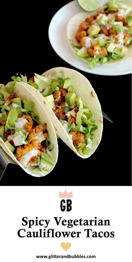 Spicy Vegetarian Cauliflower Tacos are delicious! #Cauliflower #Veggies #Tacos #Vegitarian