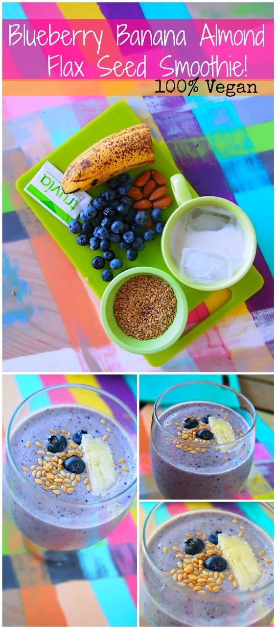 Blueberry Banana Almond Flax Seed Smoothie