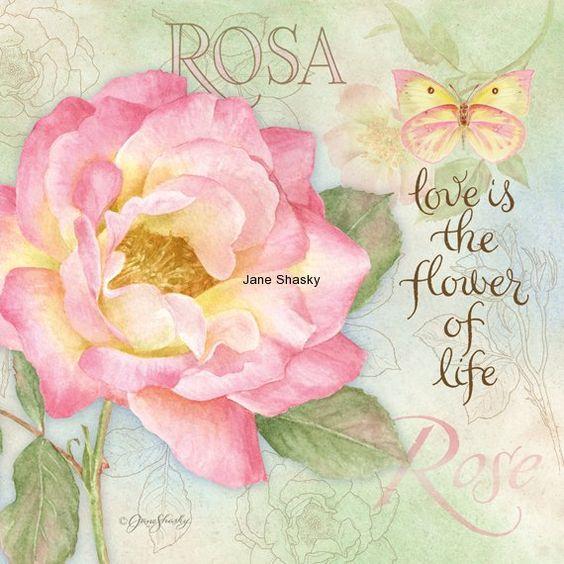 Lang calendar, art by Jane Shasky.  JS-D386 botanical rose: