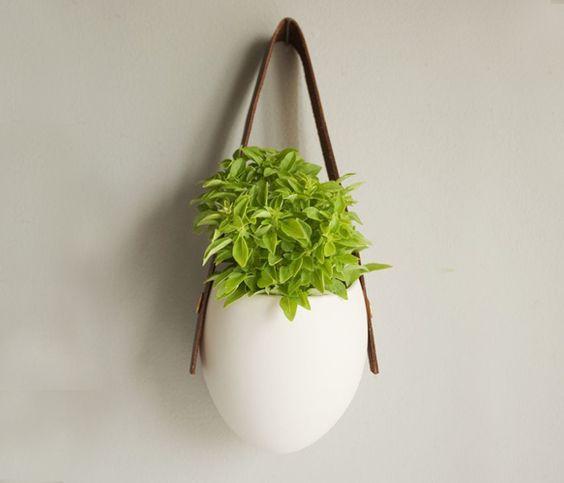 porcelain + leather planter