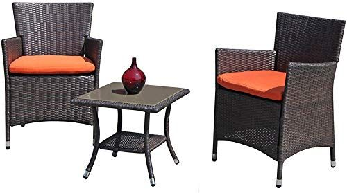 New Patiorama Patio Porch Furniture Set 3 Piece Pe Brown Rattan Wicker Chairs Orange Cushion Glass Coffee T Porch Furniture Garden Furniture Sets Wicker Chairs