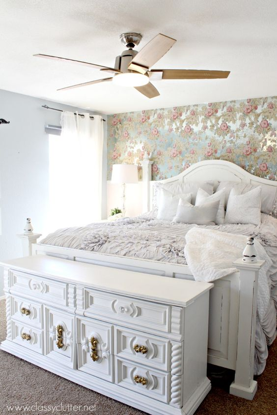 In love with this gorgeous Master Bedroom Makeover. This shabby chic bedroom is lovely and elegant! Click for more details: