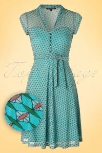 40s Emmy Diamond Dress in Turquoise
