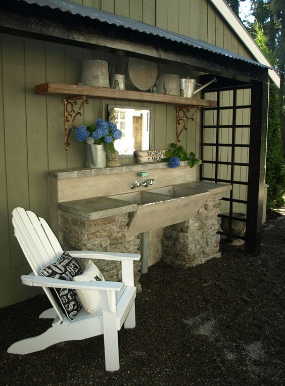 Our outdoor garden sink with hot and cold running water for Outdoor kitchen counter with sink