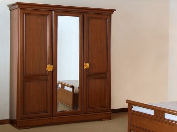 armoire laurel 3 portes avec miroir d cor merisier prix. Black Bedroom Furniture Sets. Home Design Ideas