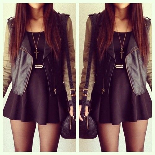 black leather jacket with kaki sleeves with a black