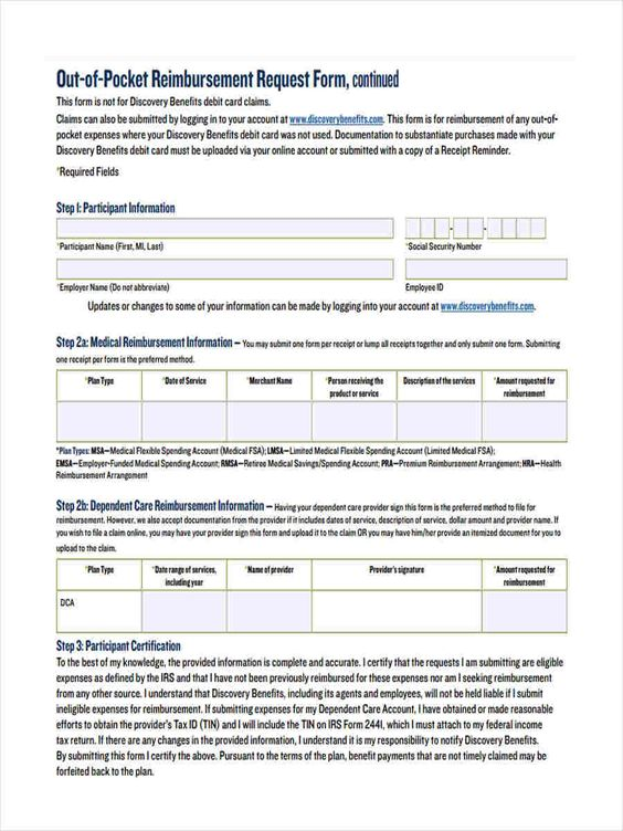 Reimbursement Request Form This Printable Form Can Be Used To