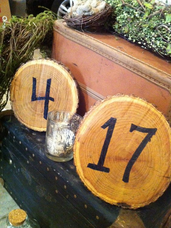 Hand Carved and Burned Wooden Table Numbers for by ShabbyChicbyCJ, $65.00