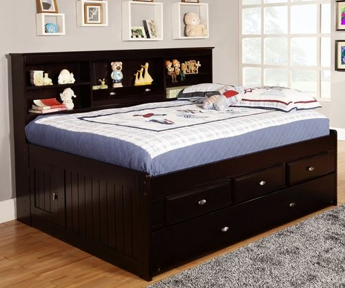 Espresso Full Size Bookcase Captain S Day Bed With Trundle Bed