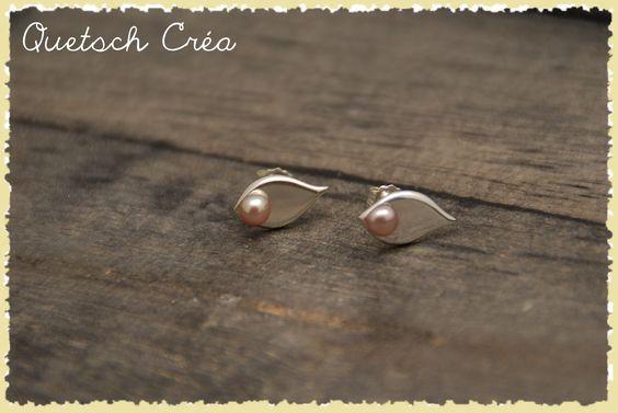 Boucles d'oreilles en argent 925 & Perles d'eau douce rose tendre.