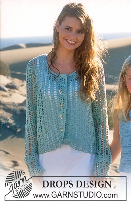 DROPS Crocheted cardigan in Safran ~ DROPS Design. I would shorten the sleeves to 3/4 length.