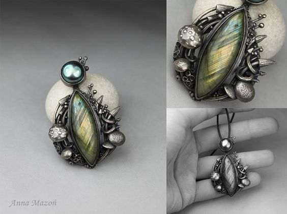 Mushroom heaven  silver pendant with labradorite and by drakonaria, $310.00