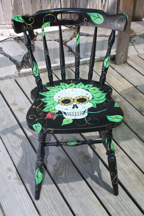 Dia de Los Muertos/Day of the Dead~Skull Chair