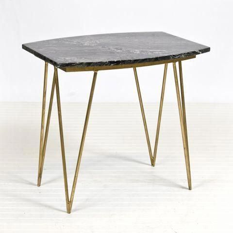 Gold Leafed Hairpin Leg Table With Solid Black Marble Top Natural Variations Are To Be Expected Marble Side Tables White Marble Side Table Marble Coffee Table