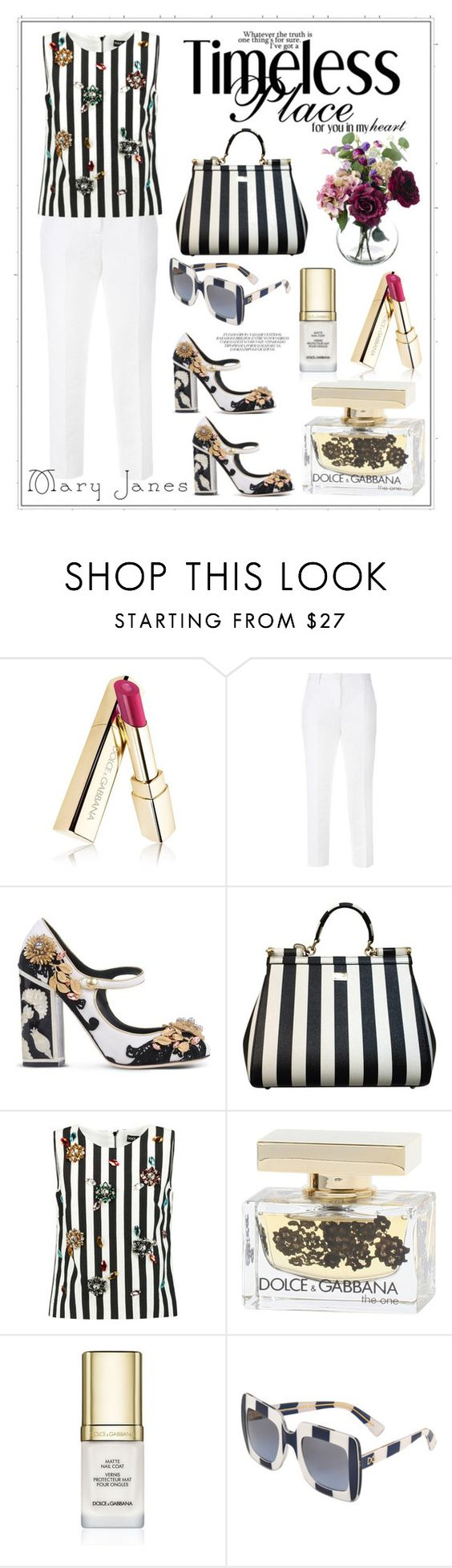 """Untitled #302"" by meryflower ❤ liked on Polyvore featuring Dolce&Gabbana, stripes, maryjanes and dolceandgabanna"