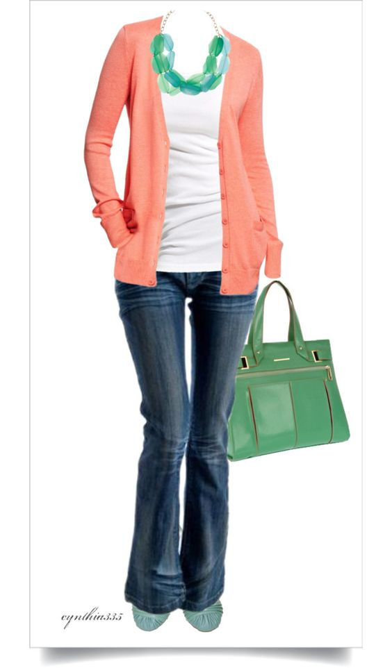 dark trouser jeans, white shirt, coral cardigan, seaglass necklace, seafoam purse, seafoam flats