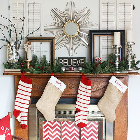 Carolers Displayed On A Mantle With Garland And Stockings: Aesthetics, Burlap Stockings And