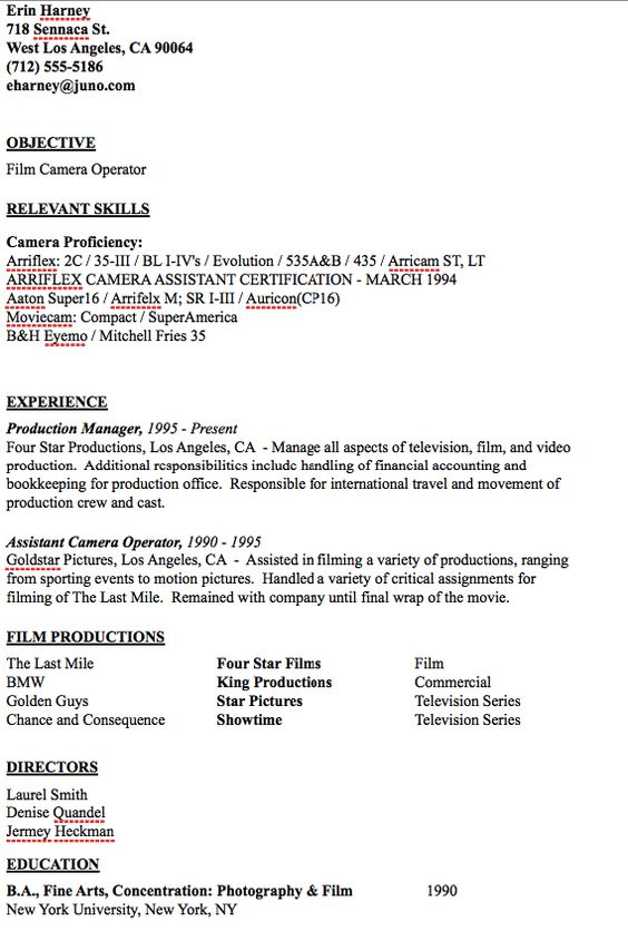 Camera Operator Resume Sample - http\/\/resumesdesign\/camera - certified emt resume