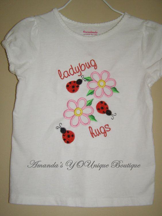 LadyBug Hugs Embroidered Shirt by AYBoutique on Etsy, $22.00